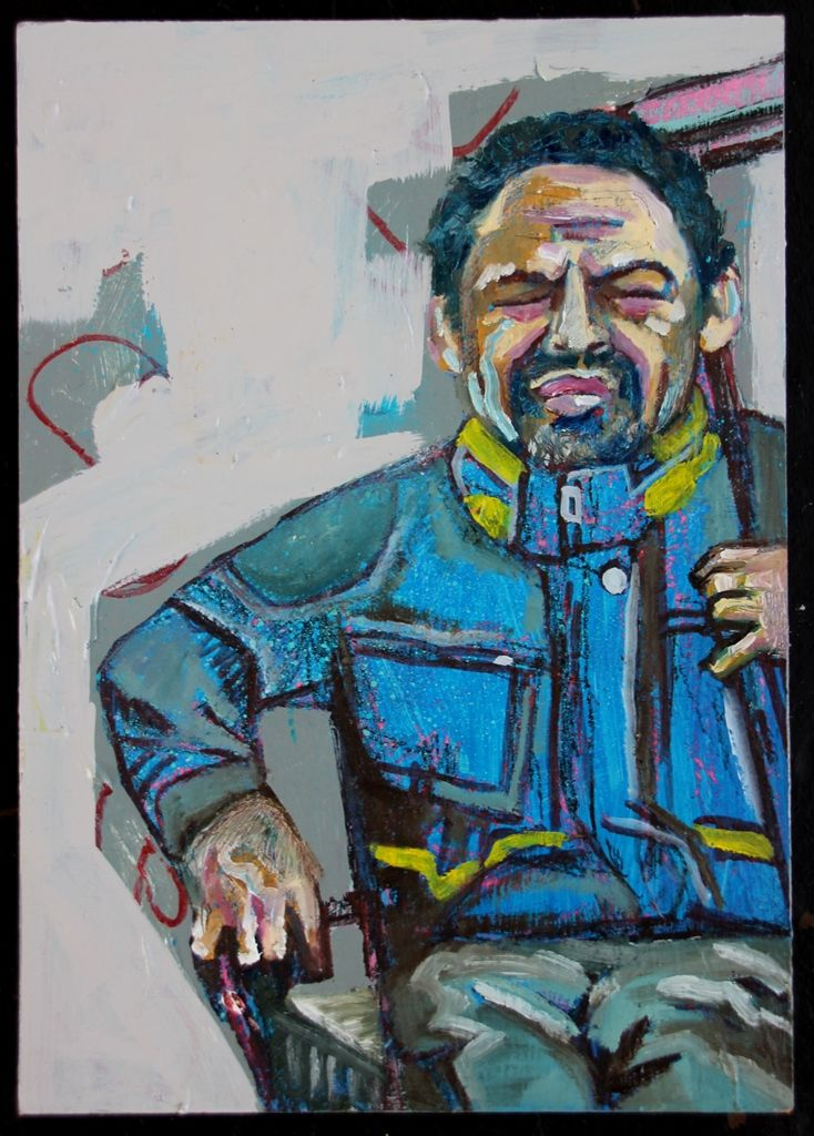 Homeless guy from the streets of Cape Town, who is seen as a diva and comedian.  Medium: Acrylic, chalk, charcoal and oils on superwood  Dimensions: 30 x 21 cm (L x W)