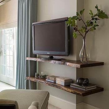 Raw shelves to showcase photos/books under the windows.