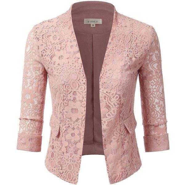 Doublju Women's Plus Size Classic Collarless Open Front Blazer Jacket... (1.845 RUB) ❤ liked on Polyvore featuring outerwear, jackets, red blazer jacket, plus size blazers, plus size red blazer, red blazers and blazer jacket
