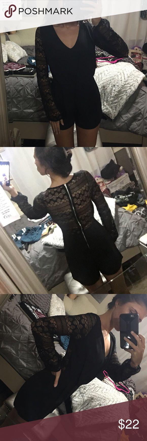 Black long sleeve romper ROMPER. Black. Lace sleeves and lace back. Zipper back. Charlotte Russe Dresses Mini