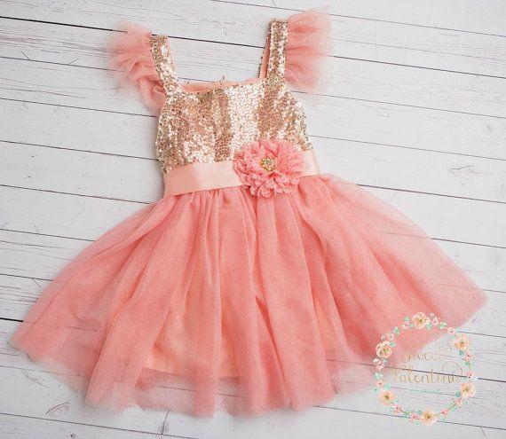 Flower girl dress Pink and gold girl dress1st por SweetValentina
