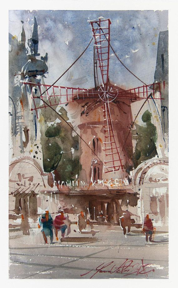 Moulin Rouge Original Watercolour 218 Street Scene Cityscape