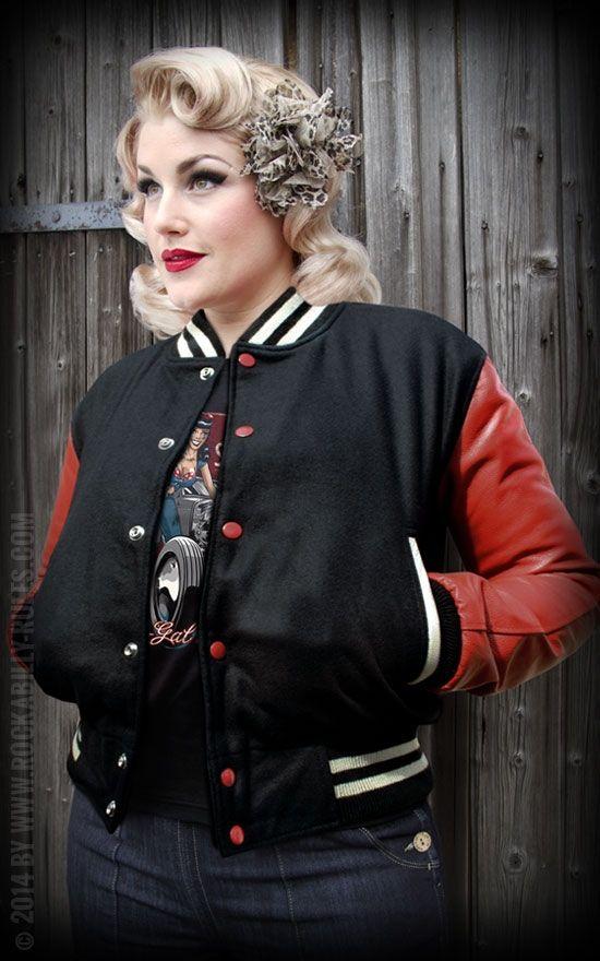 Lady Leder Baseball Jacke - schwarz