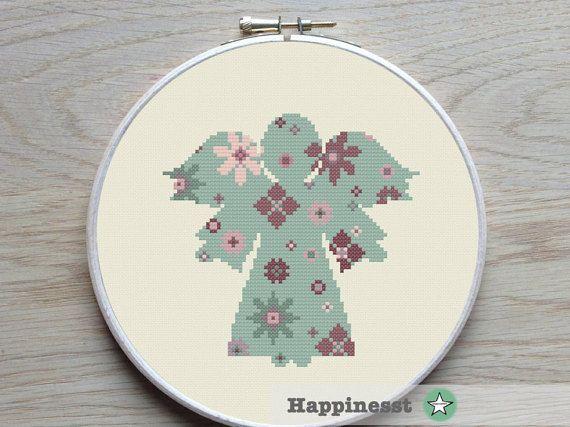 cross stitch pattern angel flower pattern christmas by Happinesst