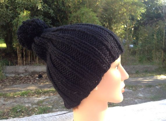Black rib knit beanie by RusticValley on Etsy