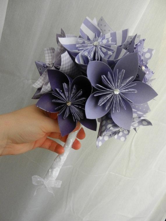 Bouquet Mariée Rond Origami Kusudama Violet Parme