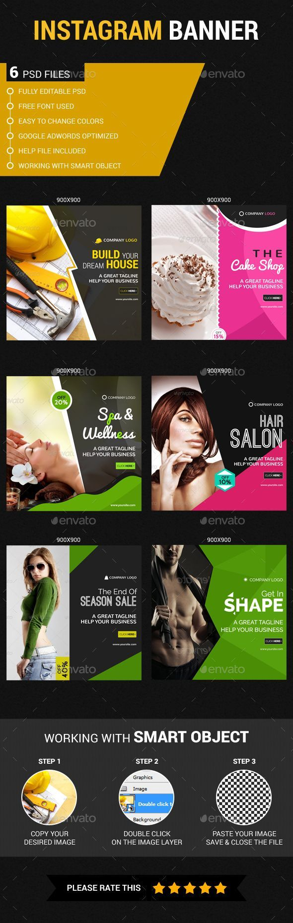 Multipurpose Instagram Banners Template #design #ads Download: http://graphicriver.net/item/multipurpose-instagram-templates/13033890?ref=ksioks