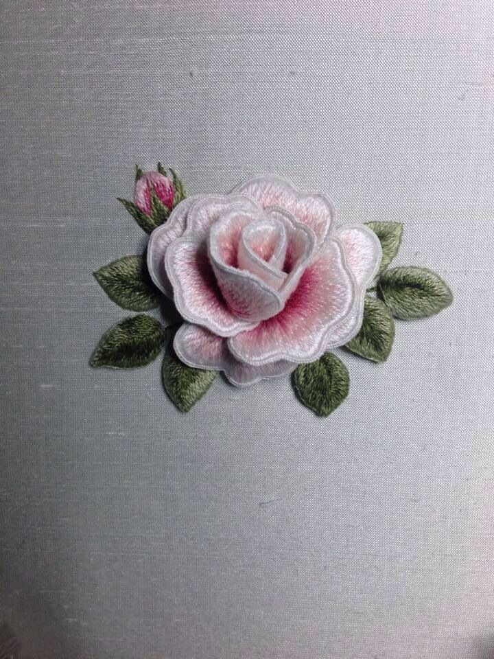 Beautiful pink rose designed and stitched by Susan Porter of Embellish Embroidery, Grafton.