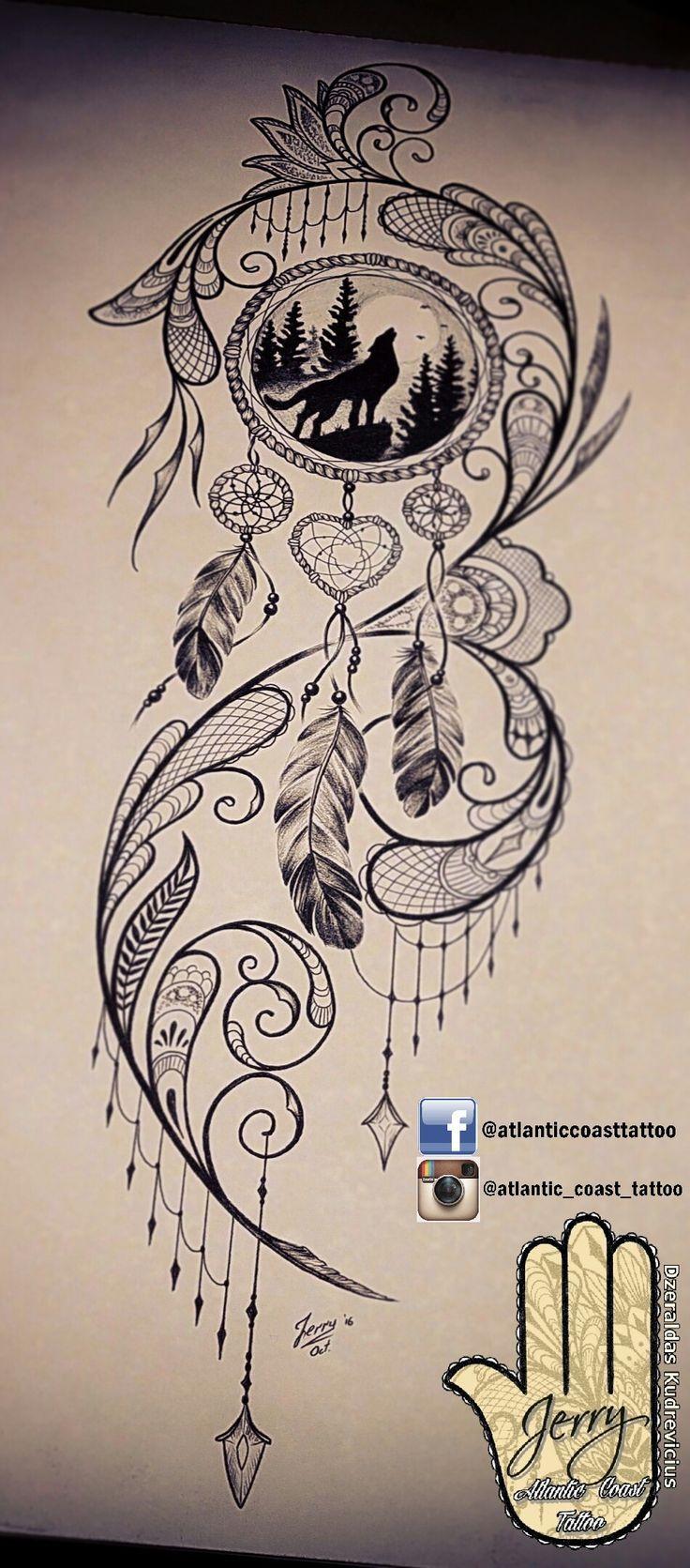 Beautiful tattoo idea design for a thigh, dream catcher tattoo, wolf tattoo idea…