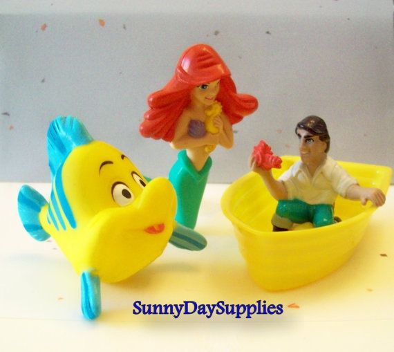 Vintage McDonalds Toy 1989 Disneys Little Mermaid toys: Ariel, Eric, Flounder, with a Little Boat - 4 pieces