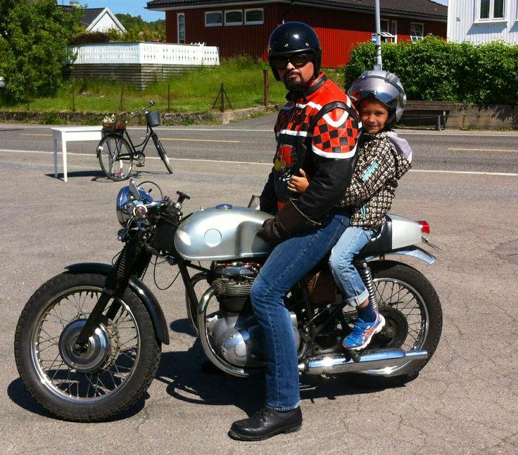 Husband and son on a Bsa cafe racer.