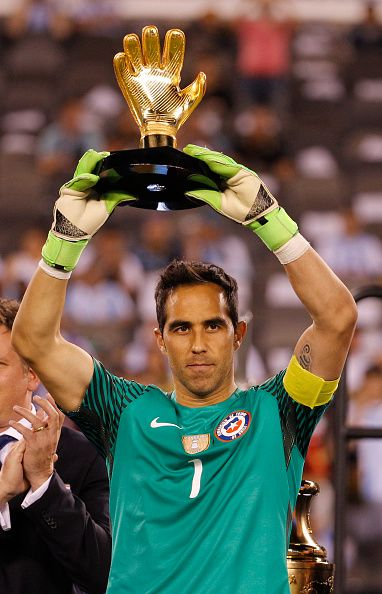 #COPA2016 #COPA100 Claudio Bravo of Chile holds up the Golden Glove Award following the championship match between Argentina and Chile at MetLife Stadium as part of...