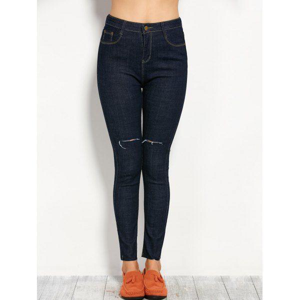 Al por Mayor 28 Azul Negro Pantalones Mezclilla Rasgados Alta Cintura Compra Pantalones Barato en Línea.