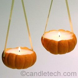 HALLOWEEN Mini Pumpkin Candles -Turn everyday items into adorable candles!  You Will Need:  Small Pumpkins or Gourds  Paring Knife or Pumpkin Carving Saw  Container Wax (IGI 4630 works great!)  Fragrance Oil (optional)  Pre-Tabbed Wicks  Ribbon, String, or Wire (optional)