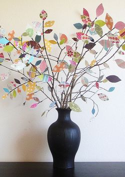 Scrapbook paper tree - tutorial, but I could do this with FABRIC ! (Pat)