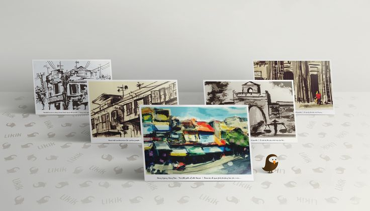 Painting artworks of Hanoi old quarter in vintage style.