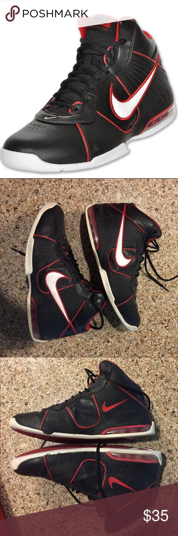 Nike Air Max Full Court Basketball Shoes Pair of Black/ White-Varsity Red Nike Air Max Full Court Basketball Shoes. SIZE 10.5. Only worn a couple times. Some slight damage on the side of the left sneaker Nike Shoes Athletic Shoes