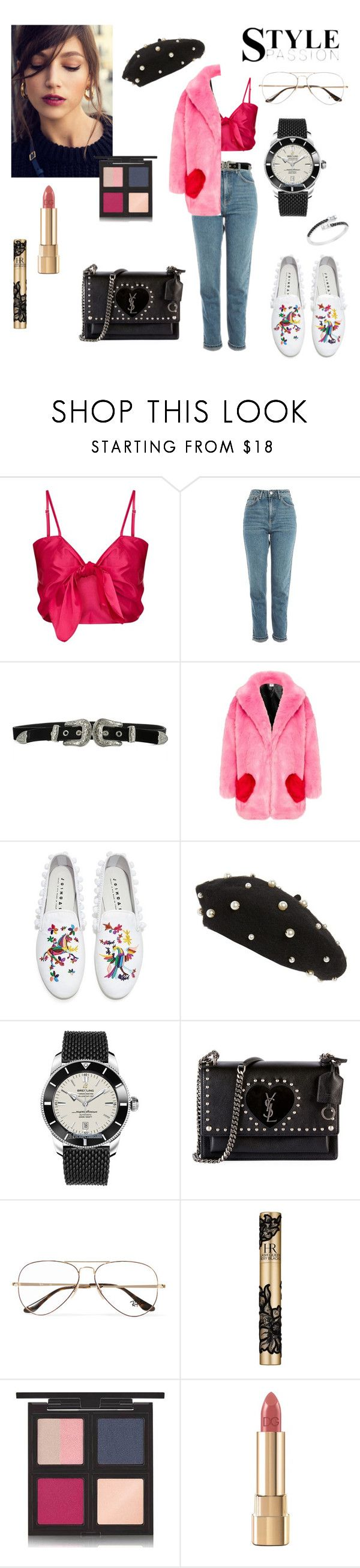 """""""Untitled #397"""" by gloriatovizi on Polyvore featuring Topshop, B-Low the Belt, Joshua's, Breitling, Yves Saint Laurent, Ray-Ban, Helena Rubenstein, The Body Shop and Dolce&Gabbana"""
