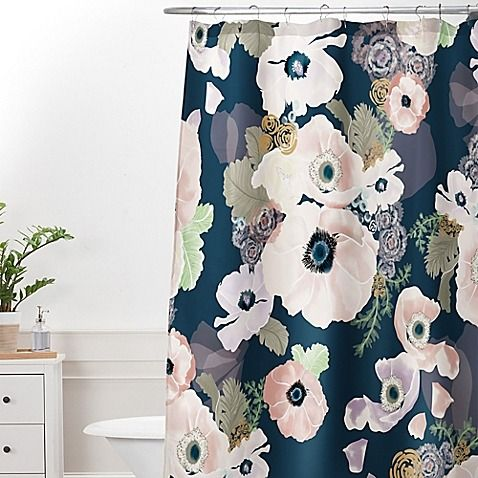 Bring some soft, feminine style to your bathroom with the lovely DENY Designs Khristian A Howell Une Femme Shower Curtain. The artistic shower curtain features soothing pink, lavender and cream blooms adorn a muted blue ground.