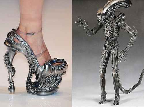 "H.R. Giger-inspired shoes, from Alexander McQueen's 2010 Spring/Summer runway show ""Plato's Atlantis."""