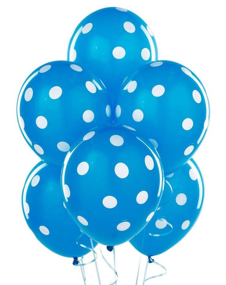 mavi beyaz puantiyeli balon