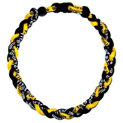 "2 Pack 20"" Yellow Black Titanium Germanium Tornado Baseball Necklace by Titanium Sports. $6.45. Assistin body and mind relaxation. Increase sports performance and stamina. Promote a sense of well-being. Quantity of 2. Increase alerthess, energizes a person. Energy band works with our body's energy system, helping to regulate and balance the flow of energy throughout our body. Proper energy balance helps to alleviate discomfort, speed recovery and counteract fat..."