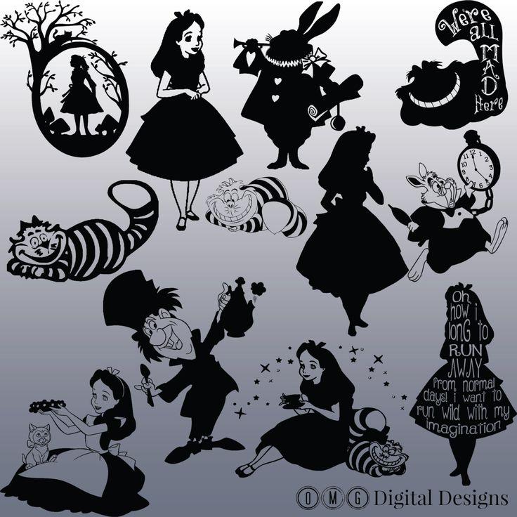 12 Alice In Wonderland Silhouette Bilder von OMGDIGITALDESIGNS