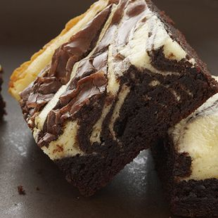 Chocolate Cheesecake Marbled Brownies: Duncan Hines Double Fudge Brownies swirled with artfully applied ribbons of cream cheese make for delicious Marbled Brownies.