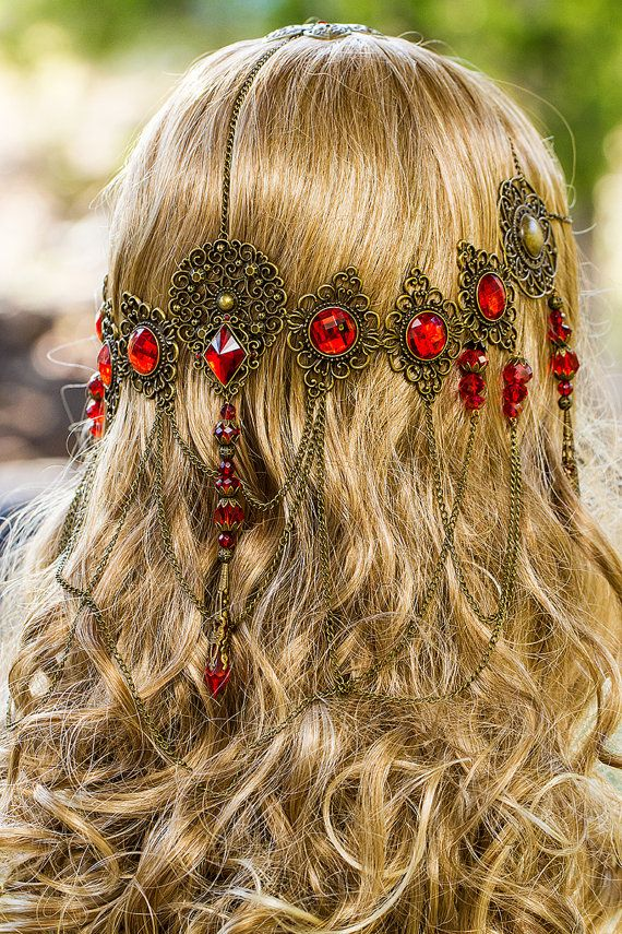 Red Queen Circlet, stunning bronze & Red hand made filigree bridal circlet via Etsy