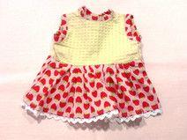 gelbes Erdbeer Sommerkleid - Puppenkleidung