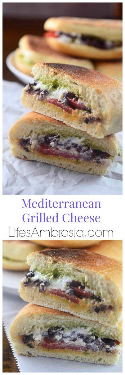 This Mediterranean Grilled Cheese is the perfect lunch, quick and easy with goat cheese, kalamata olives, red peppers and pesto.
