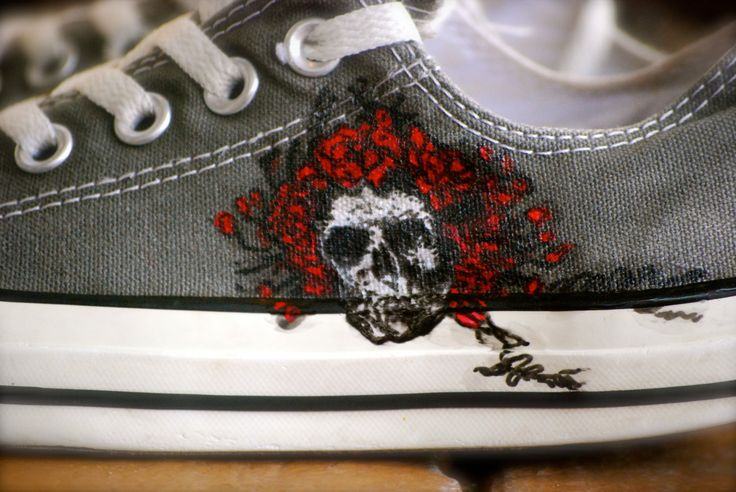 The Grateful Dead Album cover American beauty custom hand painted shoes by krazykicks on Etsy