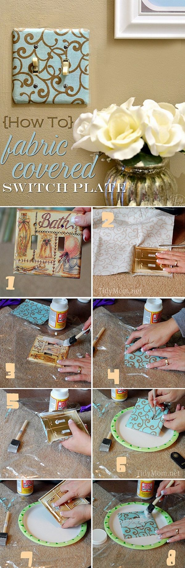 Check out this easy idea on how to make a #DIY fabric covered light switch plate for #homedecor on a #budget #crafts #project @istandarddesign