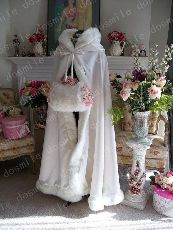 Тёплый зима настроить закрытый воротник с искусственный мех отделка длинная для невесты зима свадьба плащ накидка