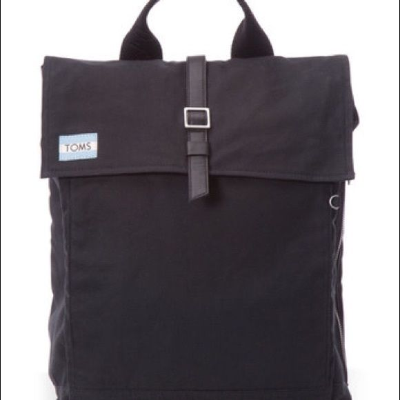 """NWT Toms black waxed canvas backpack Trekker backpack features: waxed cotton canvas snap closure on flap and interior zipper closure tech padding to fit a 13"""" laptop or tablet side zip exterior ... TOMS Bags Backpacks"""