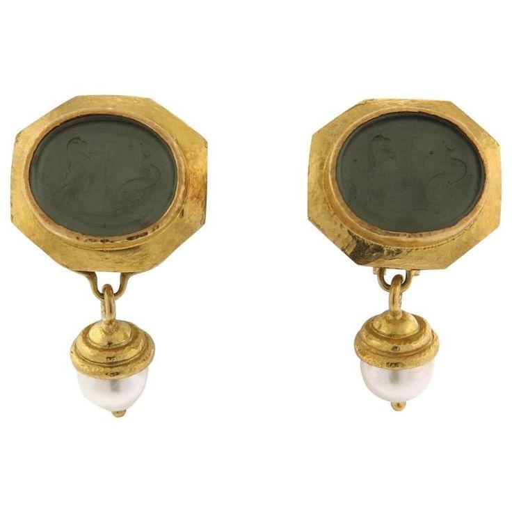 Elizabeth Locke Venetian Glass Intaglio Pearl Gold Day Night Drop Earrings   From a unique collection of vintage drop earrings at https://www.1stdibs.com/jewelry/earrings/drop-earrings/