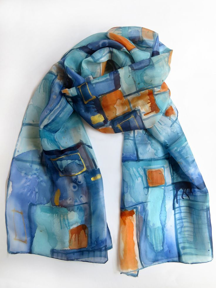 Abstraite foulard de soie dans les couleurs de marine, bleu, orange. Echarpe en soie peint à la main. : Echarpe, foulard, cravate par galatate-echarpe-en-soie