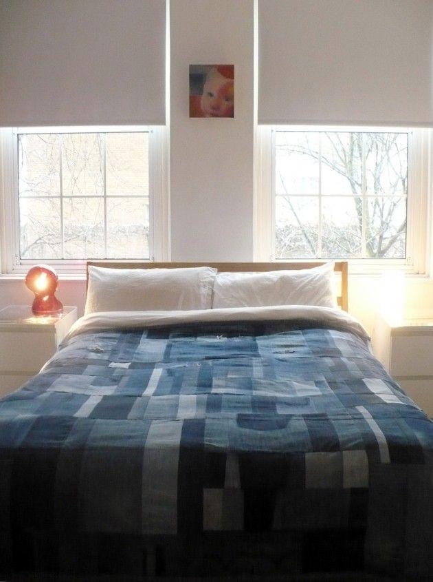 Make interesting bed quilt out of denim 20 amazing diy for Denim bedroom ideas
