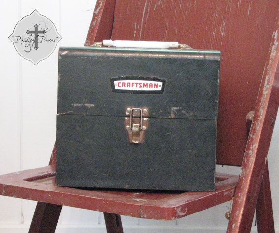 Sears Craftsman Vintage Tool Box - Industrial Gray, Rustic Decor