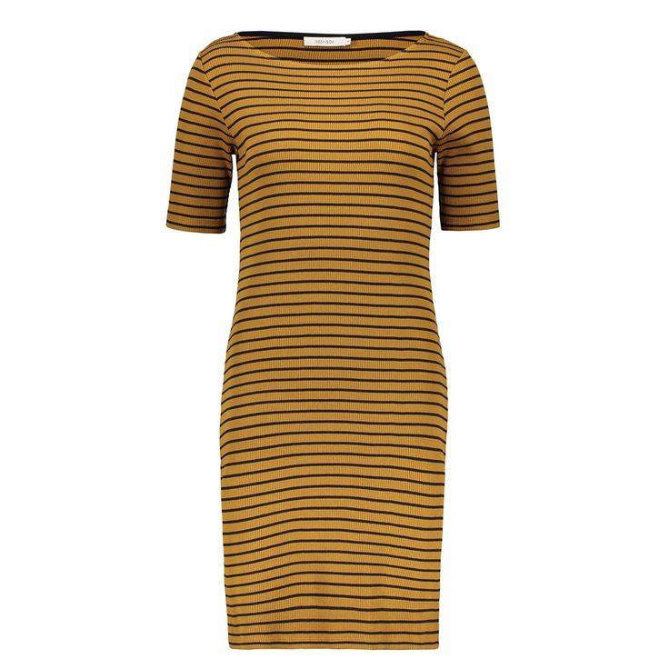 Katoenen rib jurk streep, Brons