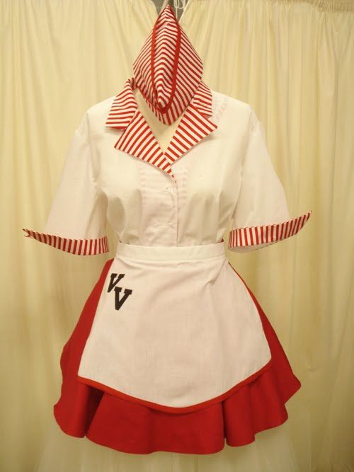 vintage waitress  what i will need:  button down shirt, skirt, apron, hat, and possible some material to make it look better.  cost approx: $45