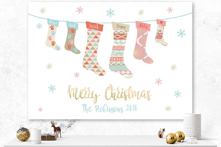 Christmas Card | Custom Holiday Card | Stocking Card | Digital Custom Card | Snowflakes Card | Pastel Card | Custom Illustrated Card | Gold by IspiratoPrintables on Etsy https://www.etsy.com/ca/listing/476395492/christmas-card-custom-holiday-card