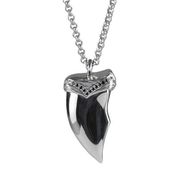 Claw Necklace / Silver / Black Diamonds