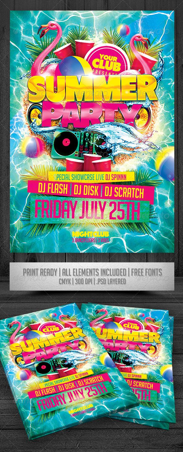 Summer Party Flyer Tempalte #design Download: http://graphicriver.net/item/summer-party-flyer/7485118?ref=ksioks