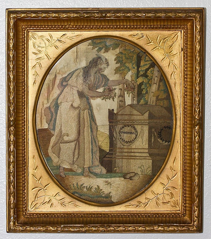Antique English Silkwork Embriodery, Mourning Shakespeare - Georgian to early Victorian era, gold frame.  Photo credit: Antiques & Uncommon Treasure