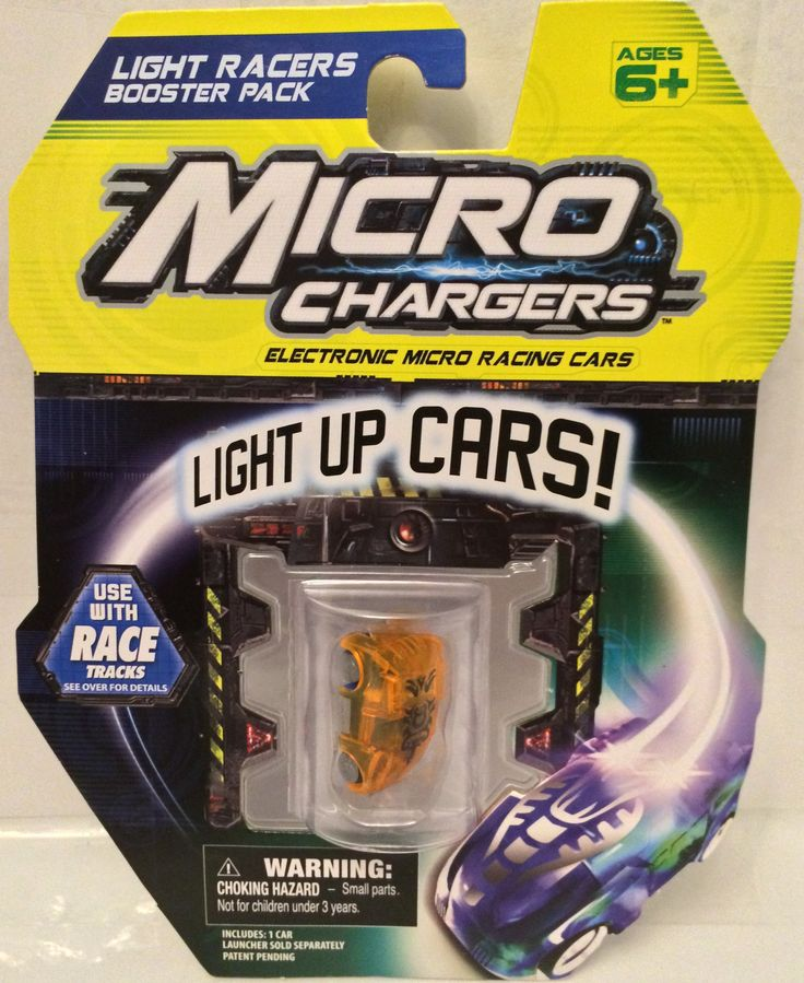 (TAS030176) - Micro Chargers Light Racers Booster Pack Light Up Cars - Orange
