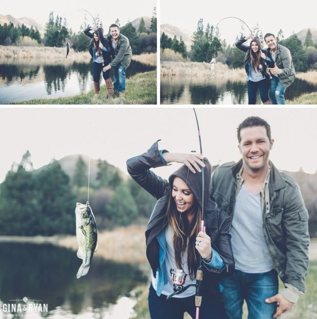 Fishing Lake Engagement Session  | Woodsy, Cabin, Camping, Fishing, Lake, Rustic, Mountains, Forest | www.GinaAndRyan.com