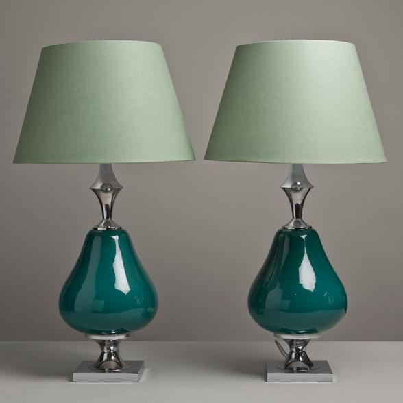 Teal Ceramic and Nickel Table Lamps 1960s