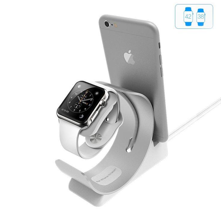 Apple Watch Stand, Charging Dock Station iPhone iWatch 2in1, Aluminum BracketDock Holder Station Stock, USB Docking Station Cradle Platform Desktop Phone Stand 38mm 42mm iPhone 7 6 Plus Compatible