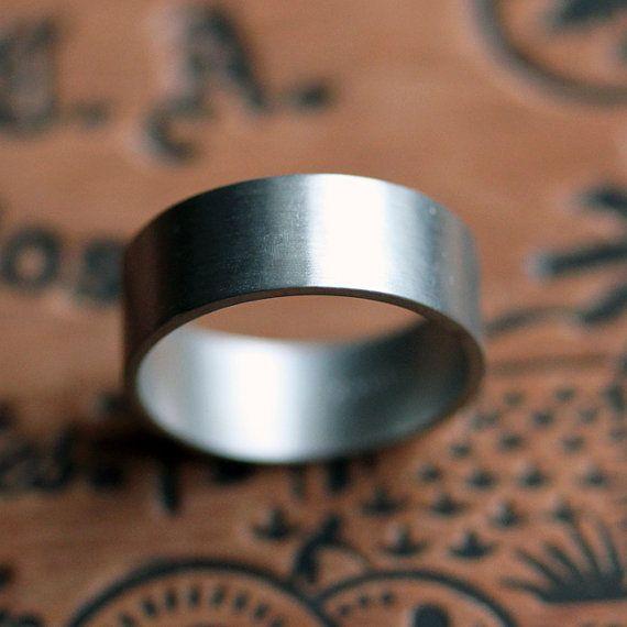 Palladium mens wedding ring  wide wedding band  by metalicious